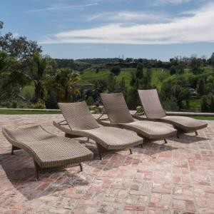 Anthony Outdoor Wicker Armless Chaise Lounge, Set of 4, Mixed Mocha