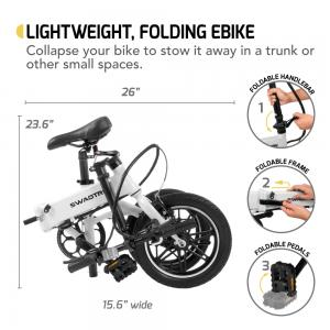 Swagtron EB-5 Lightweight Folding Electric Bike with Pedals & Power Assist