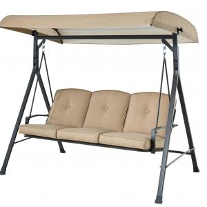 Mainstays Forest Hills 3-Seat Cushion Canopy Porch Swing, Beige
