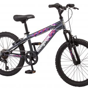 Mongoose Byte Mountain Bike, 20-inch wheels, 7 speeds, girls frame, ages 6 and up, Grey