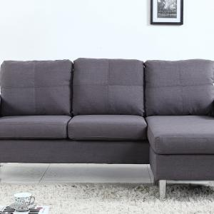 Mobilis Modern Reversible Small Space Configurable Linen Fabric Sectional, Dark Grey