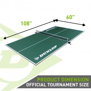 Dunlop 12mm 4 Piece Indoor Table Tennis Table Conversion Top, No Assembly Required, Green