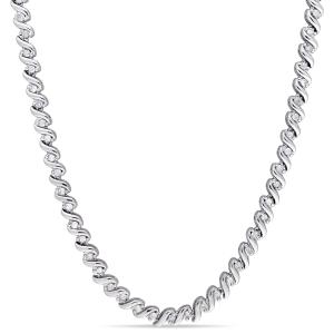 1 Carat T.W. Diamond Sterling Silver Tennis Necklace