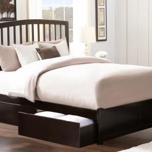 Richmond Platform Bed with Flat Panel Foot Board and 2 Urban Bed Drawers in, Multiple Colors and Sizes