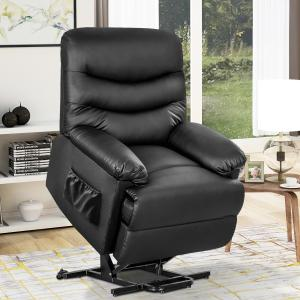 EUROCO Black PU Leather Power Recliner and Lift Chair Lifting Recliner