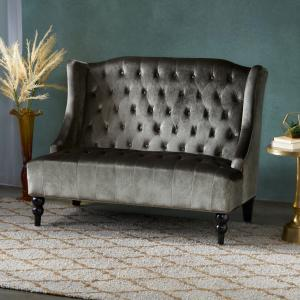 Noble House Laura Traditional Tufted Winged Velvet Loveseat,Gray