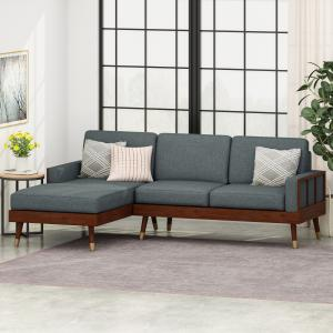 Noble House Sierra Fabric 3 Seater Sectional Set with Chaise Lounge, Charcoal, Walnut, Gold