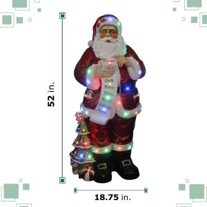 Fraser Hill Farm Indoor/Outdoor Oversized Christmas Decor with Long-Lasting LED Lights, 4-Ft. Santa Claus Holding Naughty & Nice Scroll