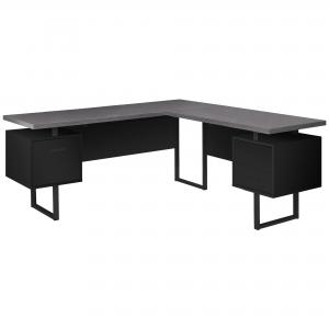 COMPUTER DESK – 70″L / BLACK / GREY TOP LEFT/RIGHT FACING