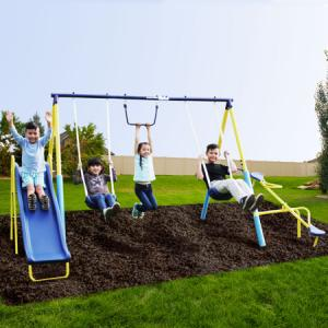 Sportspower Outdoor Super First Metal Swing Set with Trapeze, Teeter-Totter, and 6ft Heavy Duty Slide