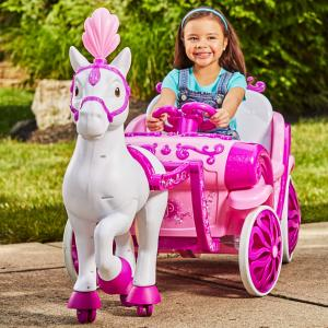Disney Princess Royal Horse and Carriage Girls 6V Ride-On Toy by Huffy