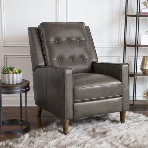 Abbyson Westbury Mid-Century Leather Pushback Recliner, Gray