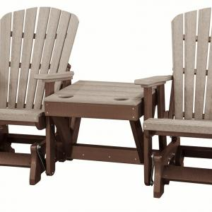 OS Home Model 515WWTB-K Double Glider with Center Table in Weatherwood and Tudor Brown