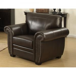 AC Pacific Louis Traditional Brown Leather Infused Fabric Stationary Arm Chair with Acccented Nail Head Trim