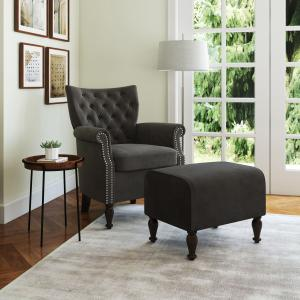 Homesvale Kuhada Button Tufted Rolled Arm Chair and Ottoman