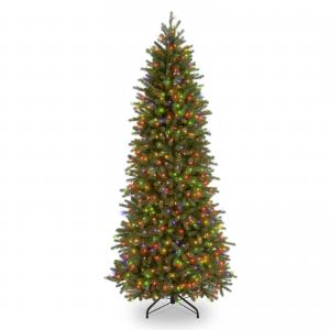 National Tree Downswept Douglas(R) Slim Fir Tree with Clear Lights-Size:9 Ft