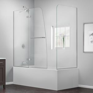 DreamLine Aqua Ultra 57-60 in. W x 30 in. D x 58 in. H Frameless Hinged Tub Door with Return Panel in Chrome