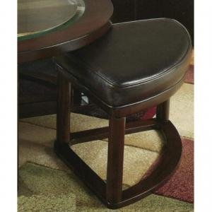 Roundhill Cylina Solid Wood Glass Top Round Coffee Table with 4 Stools