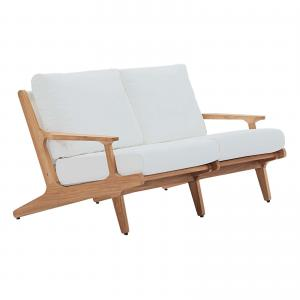 Modway Saratoga Outdoor Patio Teak Loveseat in Natural White