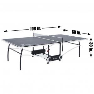 MD Sports Official Size 15mm 2-Piece Indoor Table Tennis Table, Accessories Included, Gray/White