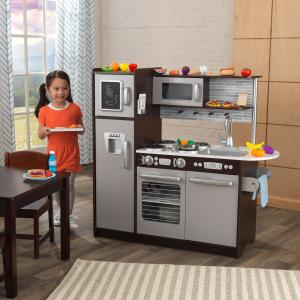 KidKraft Wooden Uptown Espresso Kitchen with 30 Piece Play Food with 30 Piece Accessory Play Set