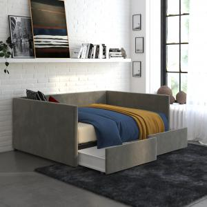 DHP Daybed with Storage, Full Size Frame, Gray Velvet