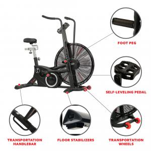 Sunny Health & Fitness Exercise Fan Bike with Bluetooth and Heart Rate Compatibility – Tornado LX Air Bike