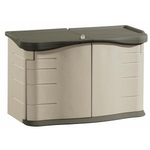 Rubbermaid 2 x 5 ft Horizontal Storage Shed with Split Lid, Olive & Sandstone