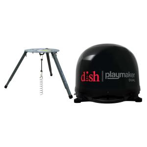 Winegard PL-8035 Dish Playmaker Portable Automatic Satellite TV Antenna With Dual Inputs (Black) & TR-1518 Carryout Tripod Mount
