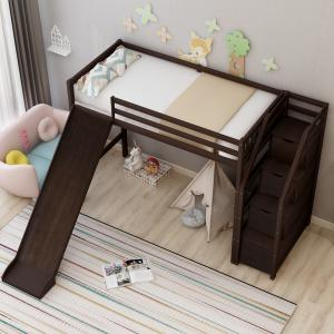 EUROCO Wood Stairway Twin Size Loft Bed With Slide and 3 Storage Drawers In The Steps, Espresso