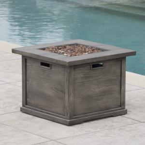 Colby Outdoor Wood Patterned Square Gas Fire Pit, Grey