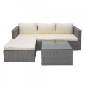 Abble 3 Piece Wicker Sectional Conversation Set with Cushions