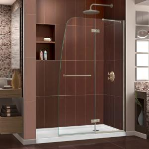 DreamLine Aqua Ultra 32 in. D x 60 in. W x 74 3/4 in. H Frameless Shower Door in Brushed Nickel and Right Drain White Base Kit