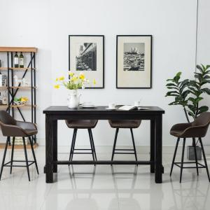 Roundhill Bronco Antique Wood Finished Counter Height Dining Set: Table and Four Chairs, Brown