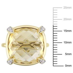 15-1/8 Carat T.G.W. Citrine and White Sapphire 14kt Yellow Gold Cocktail Ring