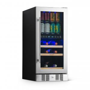 NewAir 15″ Premium Built-in Dual Zone 9 Bottle and 48 Can Wine and Beverage Fridge with SplitShelf™ – Stainless Steel