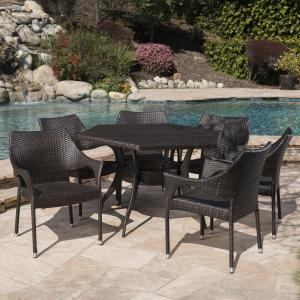 Outdoor 7 Piece Wicker Hexagon Dining Set with Stacking Chairs,Multibrown