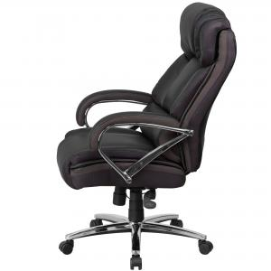 Flash Furniture HERCULES Series Big & Tall 500 lb. Rated Black LeatherSoft Executive Swivel Ergonomic Office Chair with Chrome Base and Arms