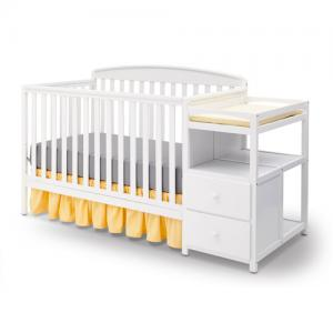Delta Children Royal 4-in-1 Convertible Baby Crib and Changer, White