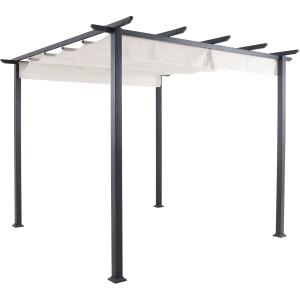 Hanover Reed Aluminum and Steel Pergola with Adjustable Sling Canopy, Gray (9.8′ D x 9.8′ W x 7.6′ H)