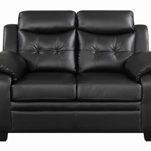 Coaster Leather Sofa Black Finish 506551