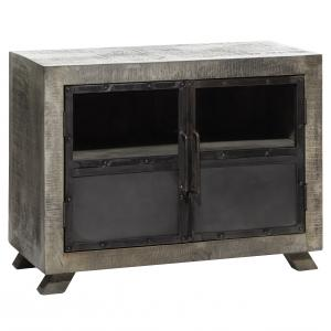 DecMode Large Wood Kitchen Cabinet w/ Vintage Style Doors and Distressed Grey Finish, 37''x28''