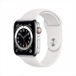 Apple Watch Series 6 GPS + Cellular, 44mm Silver Stainless Steel Case with White Sport Band – Regular