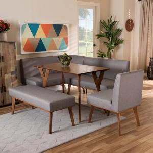 Baxton Studio Odessa Mid-Century Modern Grey Fabric Upholstered and Walnut Brown Finished Wood 5-Piece Dining Nook Set