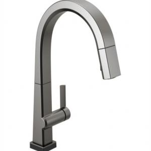 Delta Pivotal Single Handle Pull Down Kitchen Faucet with Touch2O Technology, Black Stainless