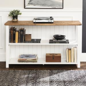 White and Reclaimed Barnwood Solid Wood Storage Console by Manor Park