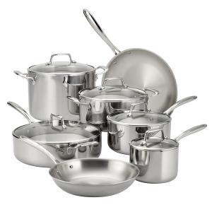 Tramontina 12-Piece Tri-Ply Clad Stainless Steel Cookware Set, with Glass Lids