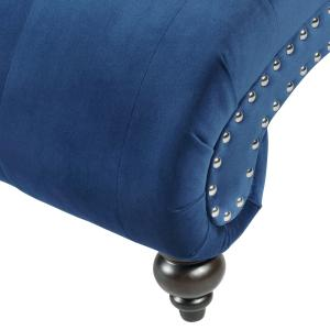 Hervey Tufted Velvet Chaise Lounge with Nailhead Trim, Blue