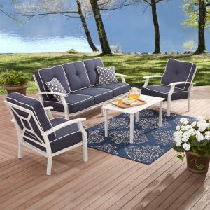 Better Homes and Gardens Carter Hills 4-Piece Patio Furniture Conversation Set, Blue