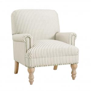 Dorel Living Jaya Accent Chair, Living Room Armchairs, Beige Stripe